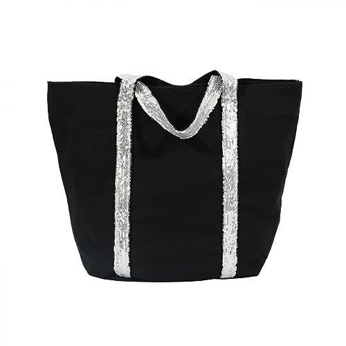 bfe6195e82 Shopping-et-Mode - Sac à main cabas noir en tissu avec lanières à ...