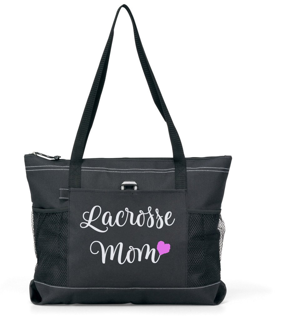Lacrosse Mom Tote. Silver glitter on a Large Black Tote with a PINK Heart