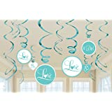 """Lovely Robin s Egg Foil Swirl Wedding Party Decorations, 12 Pieces, Foil, Blue, 3 Swirls w/Paper Cutouts, 7"""" 3 Swirls w/Paper Cutouts, 5"""" by Amscan"""