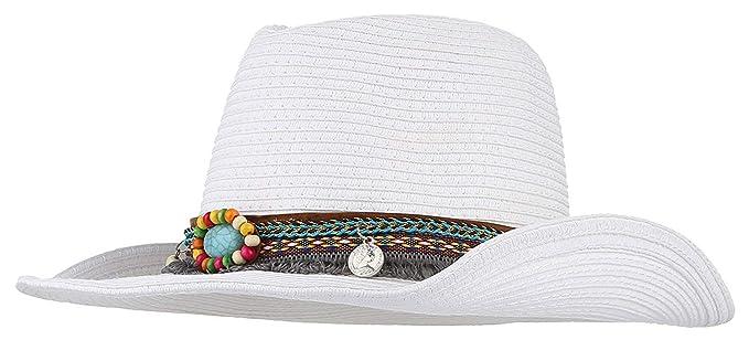 99967aa2bf Damas Sombrero De Vaquero Moda Vintage De Panamá Ocasional Sombrero Clásico  Ocio Playa Protector Solar Sombrero