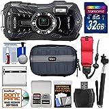 Ricoh WG-50 Waterproof/Shockproof Digital Camera (Carbon Grey) with 32GB Card + Battery + Case + Selfie Stick + Strap + Kit