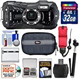 Ricoh WG-50 Waterproof/Shockproof Digital Camera (Carbon Grey) 32GB Card + Battery + Case + Selfie Stick + Strap + Kit