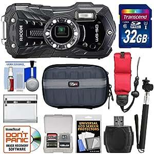 Ricoh WG-50 Waterproof / Shockproof Digital Camera (Carbon Grey) with 32GB Card + Battery + Case + Selfie Stick + Strap + Kit