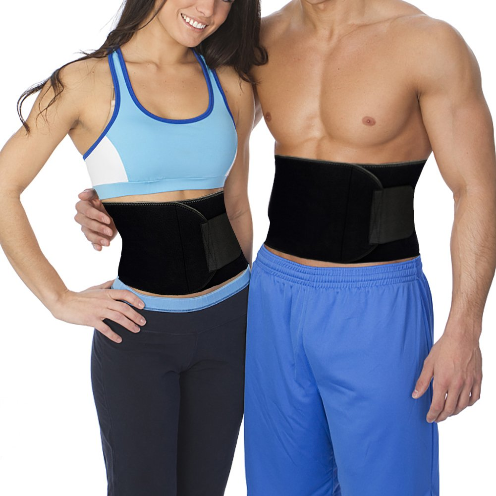 XRUSH Waist Trimmer,Exercise Trainer Adjustable Weight Loss Belt Stomach Fat Burner with Low Back and Lumbar Support with Sauna Suit Effect for Workout Weight lifting Yoga (Black, Medium - 39''x8'')