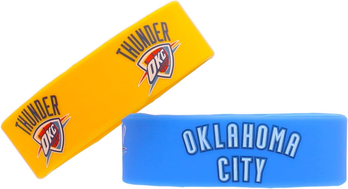 NBA Oklahoma City Thunder Silicone Rubber Bracelet, 2-Pack