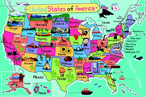 Amazoncom Large US Map Home Decor Poster Wall Art For Kids - Monta in us map