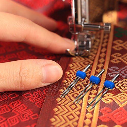 Caja de plástico con 12 agujas dobles para máquina de coser (tres ...