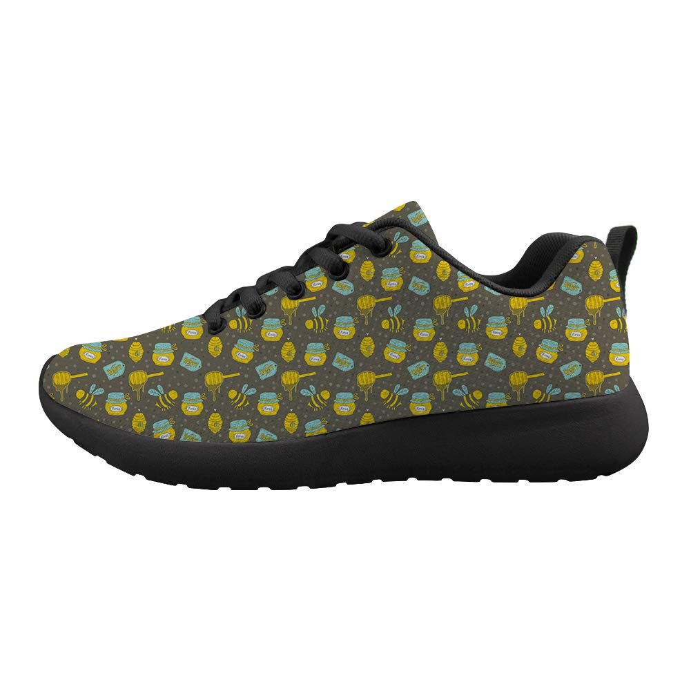 Owaheson Cushioning Sneaker Trail Running Shoe Mens Womens Honey Honeycomb Smiling Bee