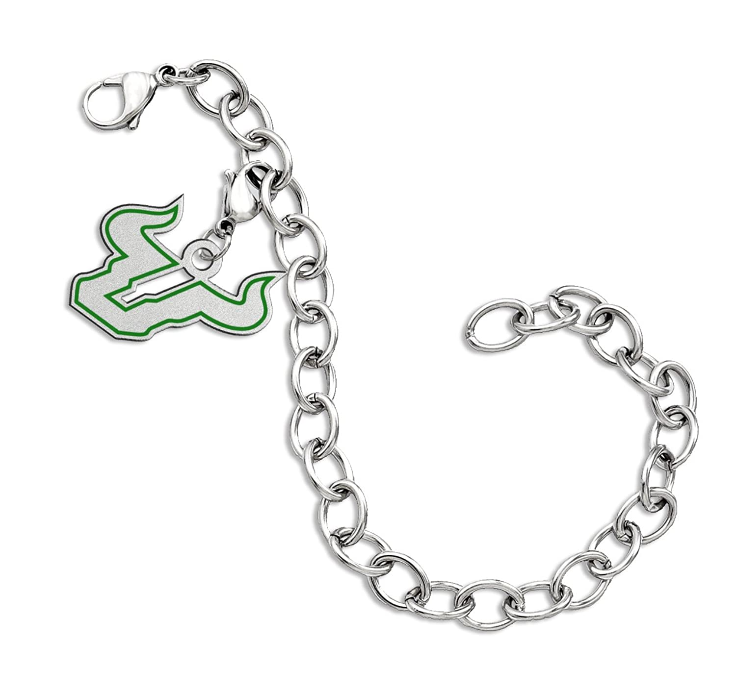 Home college tulane green wave tulane green wave silver plated - Amazon Com South Florida Bulls Sterling Silver Color Logo Charm Bracelet Jewelry