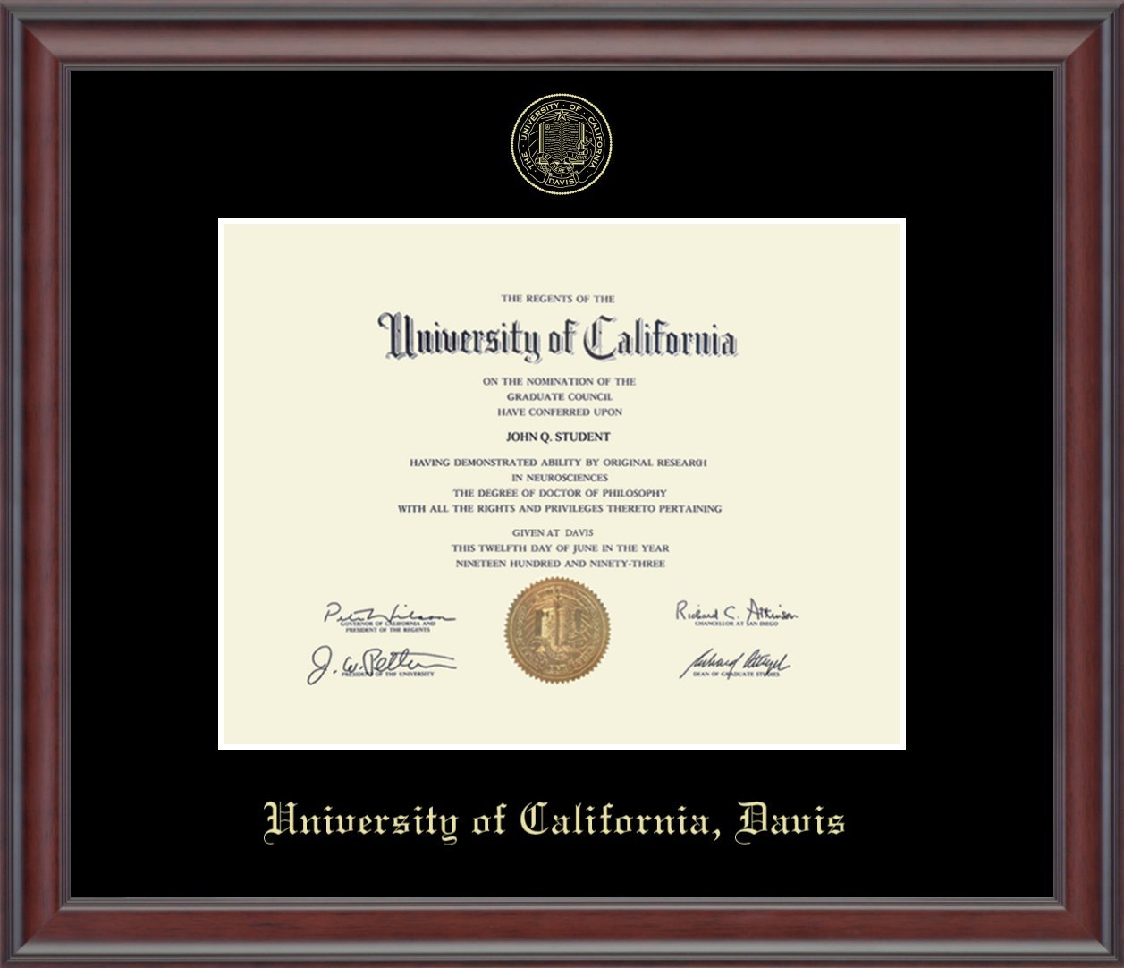 UC Davis Gold Embossed Diploma Frame - Features Solid Hardwood ''Studio'' Moulding - Officially Licensed - 8.5''h x 11''w Diploma Size - By Church Hill Classics by Church Hill Classics