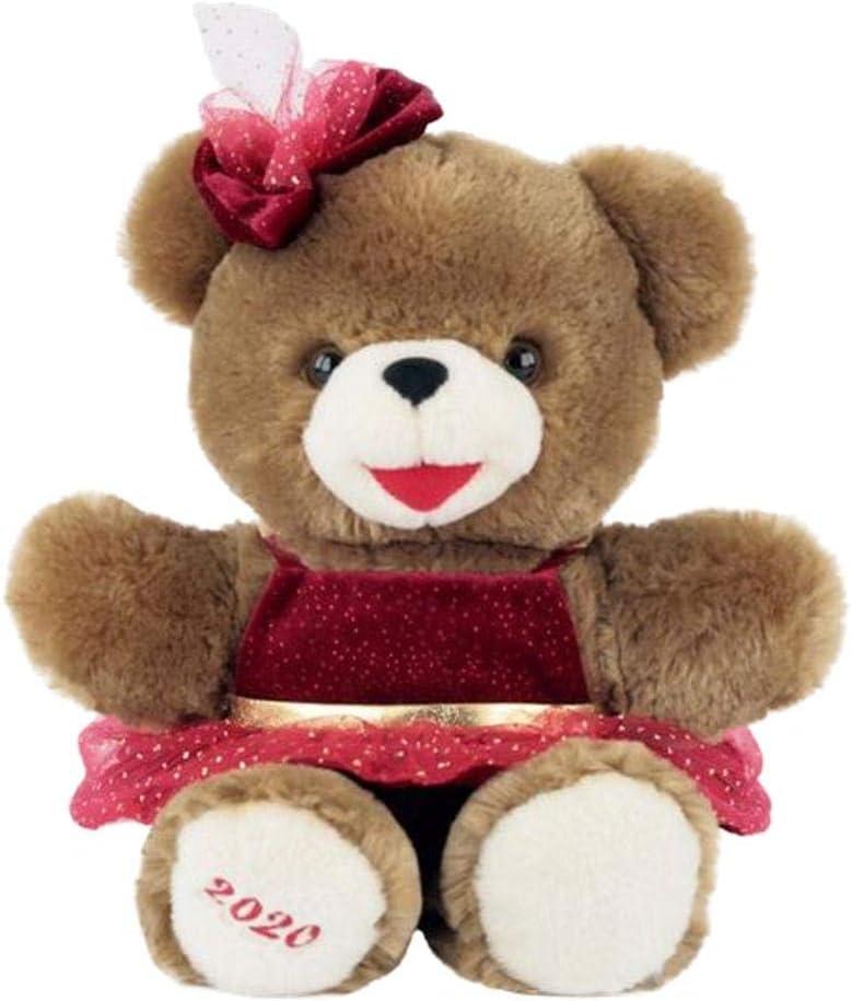 Snowflake Plush Teddy Bear 2020 Christmas 9 Inch Holiday Keepsake (Girl Red Bow)