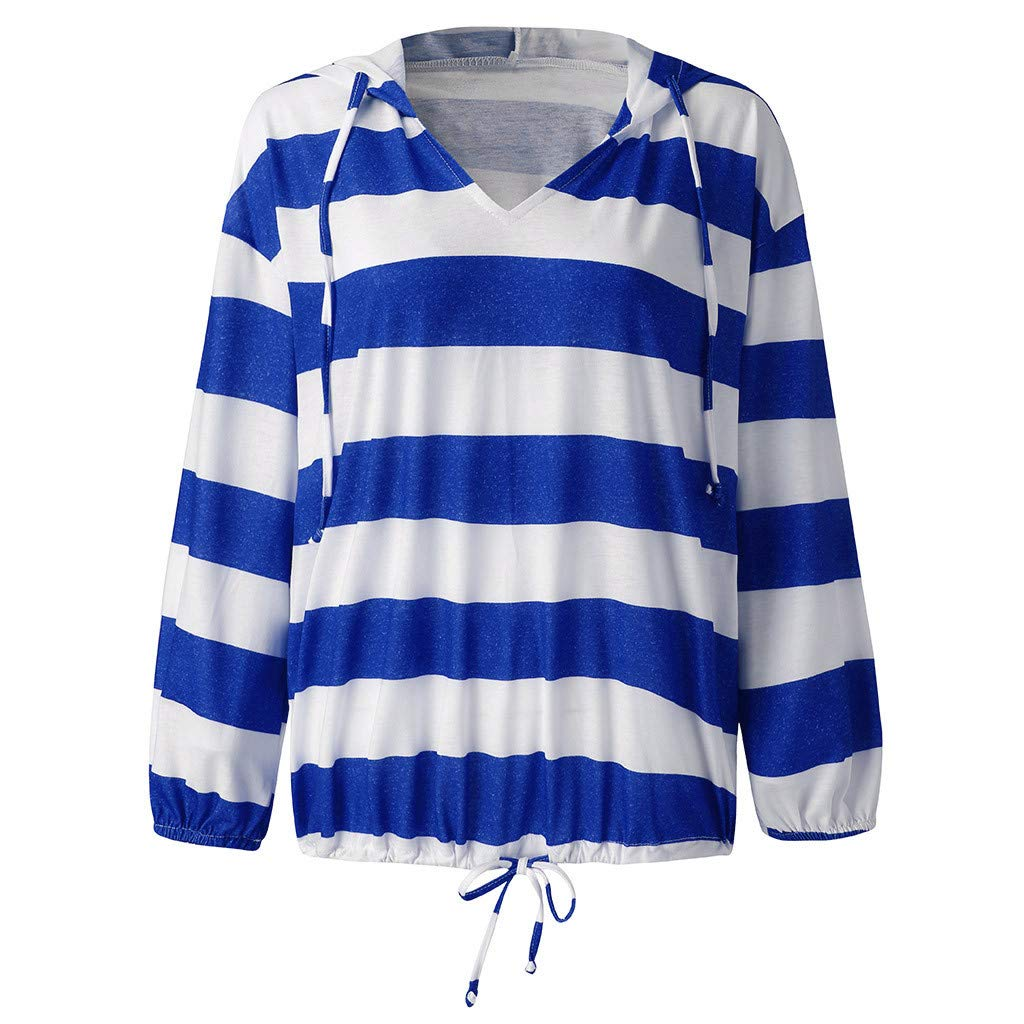 Womens Bold Stripes Hoodies V-Neck Long Sleeve Thin Baggy Hooded Daily Pullover Tops Blouses by URIBAKE