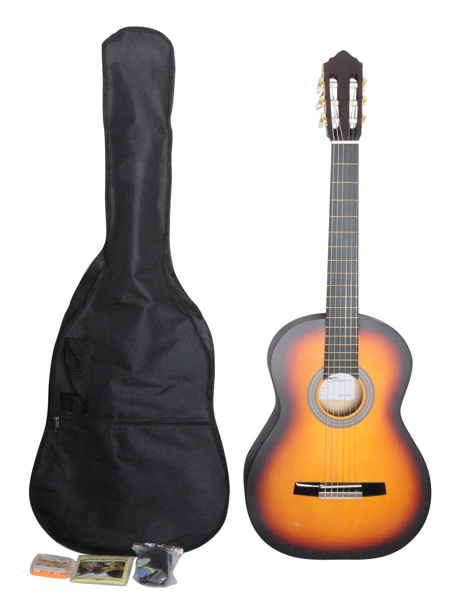 ADM JC113-SB 39'' Full Size Entry Level Classical Guitar Package, Sunburst Matte