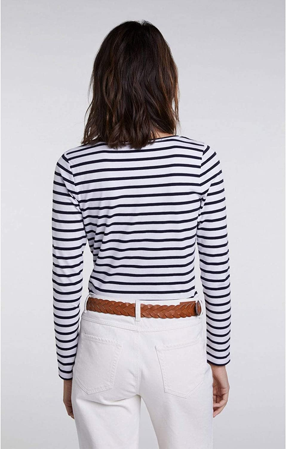Oui Navy & White Striped Top White and Blue