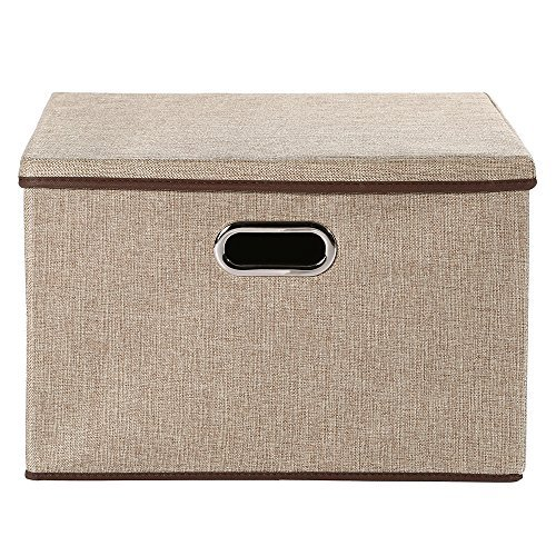 Baby Nursery Bag Storage bins,okdeals Storage Box Cubes Organizer Large Foldable Storage Containers with Removable Lid and Stainless Steel Handles,Set of 3 (Khaki) by okdeals (Image #1)