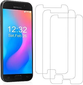 YIEASY [3 Unidades] Cristal Templado Protector de Pantalla para Samsung Galaxy A5 2017,Sin Burbujas Anti-Arañazos Protector Pantalla 9H Dureza Cristal Vidrio Templado para Samsung A5 2017: Amazon.es: Electrónica