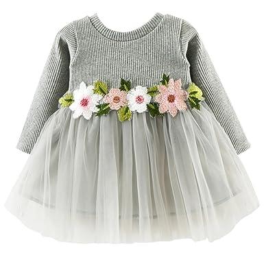 a4f412876649 Aulase Baby Toddler Girls Long Sleeve Knit Jersey Dress Floral Tulle Tutu  Skirt - Grey - 2-3 Years: Amazon.co.uk: Clothing