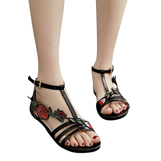 326e6a20b Amazon.com: Gyoume Flat Shoes Women Roman Sandals Outdoor Shoes Low Heel  Sandals Lady Floral Shoes Gladiator Buckle Strap Sandals: Clothing