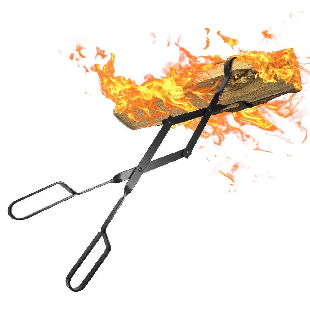 Amagabeli Pince /à bois chemin/ée 66cm avec poign/ées /À toute /épreuve Pinces /à feu pour Int/érieur Po/êle /à bois Fer forg/é Pinces /À Bois De plein air Pince /à b/ûches de bois