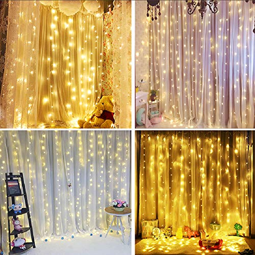 Bolylight Waterproof Curtain String Light 9.8 x 9.8ft 300 LED Starry Fairy Lights with 8 Flashing Modes for Wedding Home Party Garden Bedroom Outdoor Indoor Wall Decorations (Warm White) ()