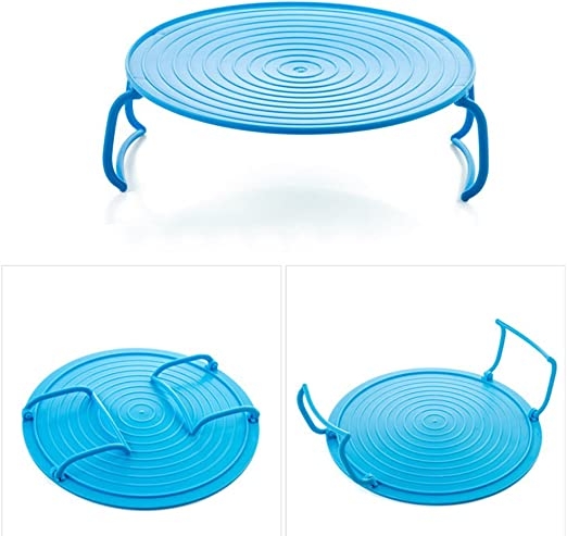Bandeja redonda para microondas, doble capa plegable, soporte para ...