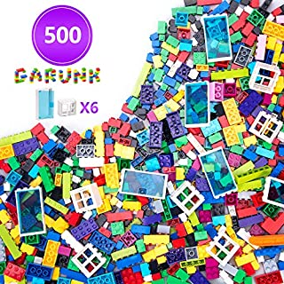 GARUNK 500 Pieces Building Bricks Kit for Kids, 500 Pcs Classic Building Blocks for Kids with Doors and Windows, Compatible with All Major Brands for Ages 3 4 5 6 7 8 9 10 Year Old Boys & Girls