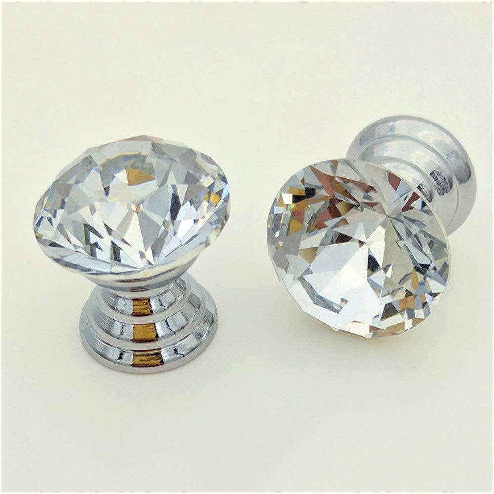 Drawer knob Set/10Pcs Mini 12mm Clear Crystal Glass Geometric Rhombic Cut Knobs, Storage Box Jewelry Box Makeup Box Gift Box Drawer Pull Handles, with Screws (Color : Clear, Size : 12mm)