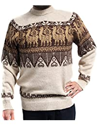 Sweater Crew Neck Llamas INCA Made in Peru Large