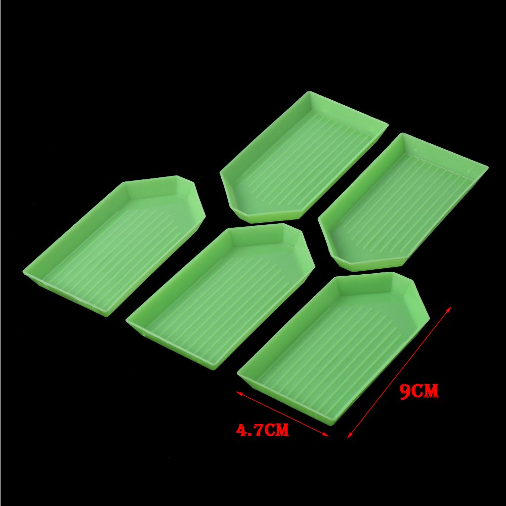 3.54/×1.85in Bettal 5 Pcs Bead Sorting Trays Embroidery Diamond Plates