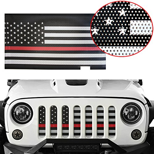 - MOEBULB Mesh Grille Insert Steel American Flag Front Grill for 2007-2018 Jeep Wrangler JK & Unlimited 2/4 Door (Thin Red Line, Without Key Hole)