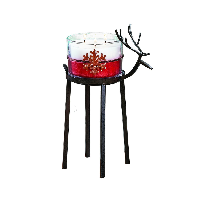 CC Home Furnishings Set of 2 Bronze Christmas Reindeer Pillar Candle Holder 12'' - Large