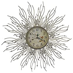 MEIDA Beautiful Starburst Wall Clock Glass Dial Diameter 27''inch (Flower)