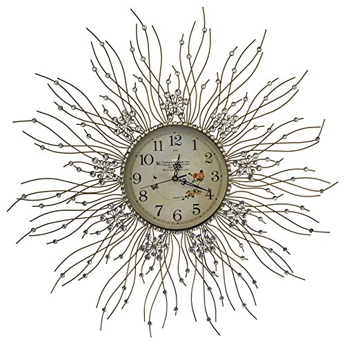"Cheap Meida Beautiful Starburst Wall Clock Glass Dial Diameter 27""inch (flower)"