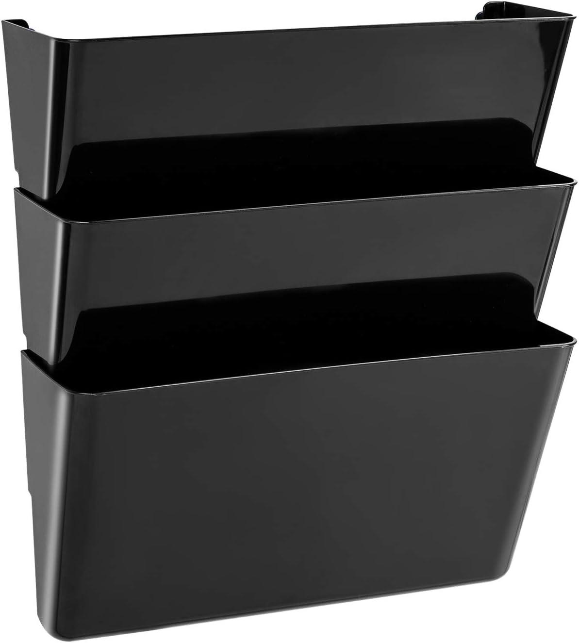 AmazonBasics Expandable Wall Pockets, Letter, Black, 3-Pocket