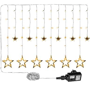 VOLTRONIC 12 Sterne 150 LED Lichtervorhang Lichterkette für innen und außen, erhältlich in warmweiss/kaltweiss/bunt, GS geprü