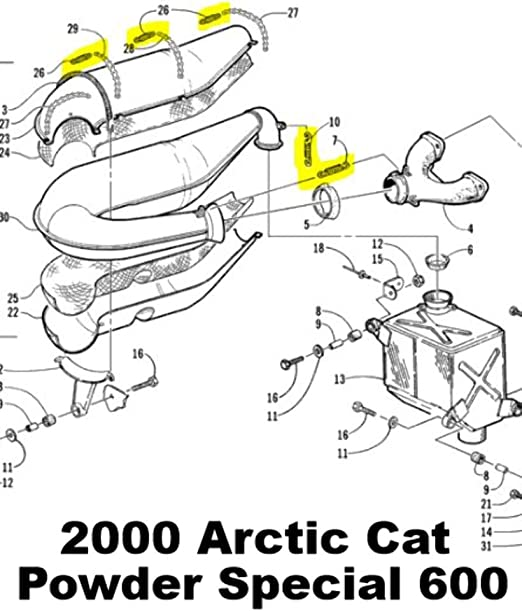 Snowmobile Exhaust Spring Replacement Kit used for Arctic Cat Powder Special