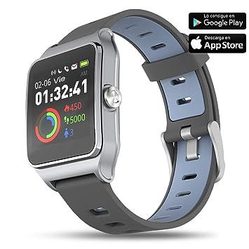 Aiwei Tech Reloj Inteligente Fitness Tracker con Monitor de Frecuencia Cardíaca y Sueño, 17 Modos