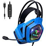 BENGOO USB Pro Gaming Headset for PC PS4, 7.1 Surround Sound Gaming Headphones with Noise Cancelling Mic, in-Line Volume/Mic/