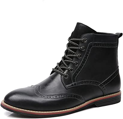 Amazon.com | LSGEGO Men's Retro Leather Oxford Boots Lace Up Brogue Casual  Moccasins Shoes for Men Dress Ankle Boots | Oxford & Derby