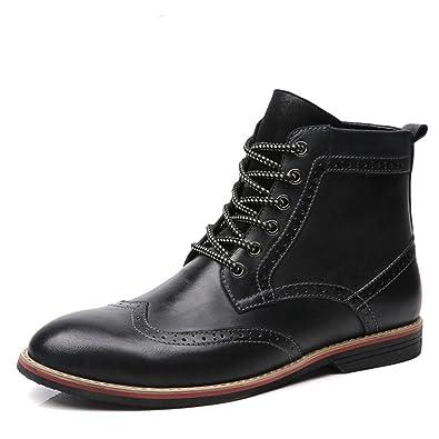 d9c59ed4a9e2d LSGEGO Men's Retro Leather Oxford Boots Lace Up Brogue Casual Moccasins  Shoes for Men Dress Ankle Boots