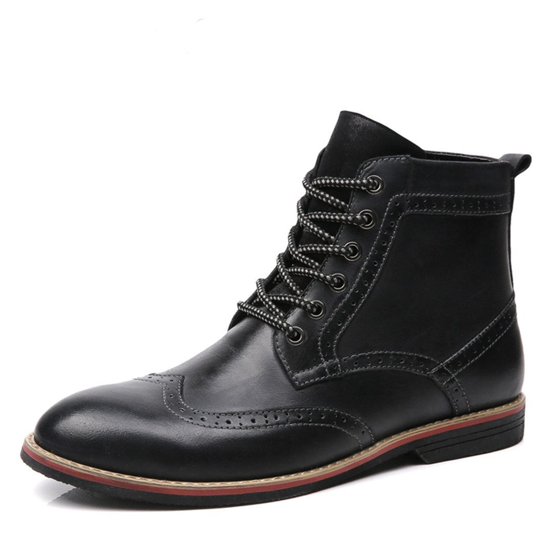 LSGEGO Men's Retro Leather Oxford Boots Lace up Brogue Casual Moccasins Shoes Men Dress Ankle Boots