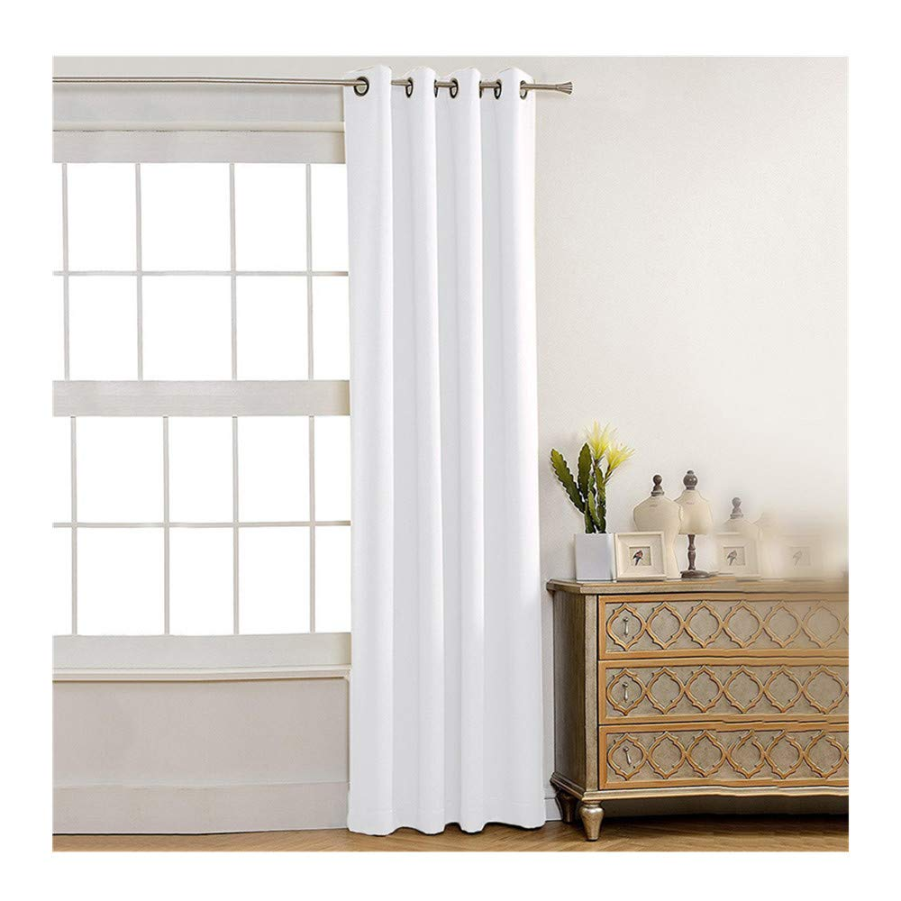 Insulated Foam Lined Heavy Thick Curtains,2PCS Blackout Curtain, Modern Smooth Fabric Solid Color Window Door Curtain for Dining Room,Living Room,Bedroom (White) by Promisen