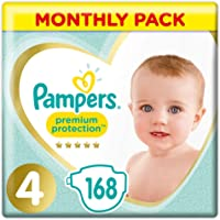 Pampers Premium Protection, Monthly Saving Pack, Soft Comfort, Approved by British Skin Foundation, Size 4, 168 Nappies, 9-14 kg