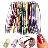 Monliyan 32 Colors Nail Art Rolls Striping Tape Line Decoration Sticker DIY Nail Gel Tip