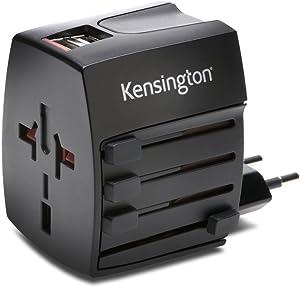 Kensington International Travel Adapter with 2.4 Amp Dual USB Ports (K33998WW), Black, 2 Prong