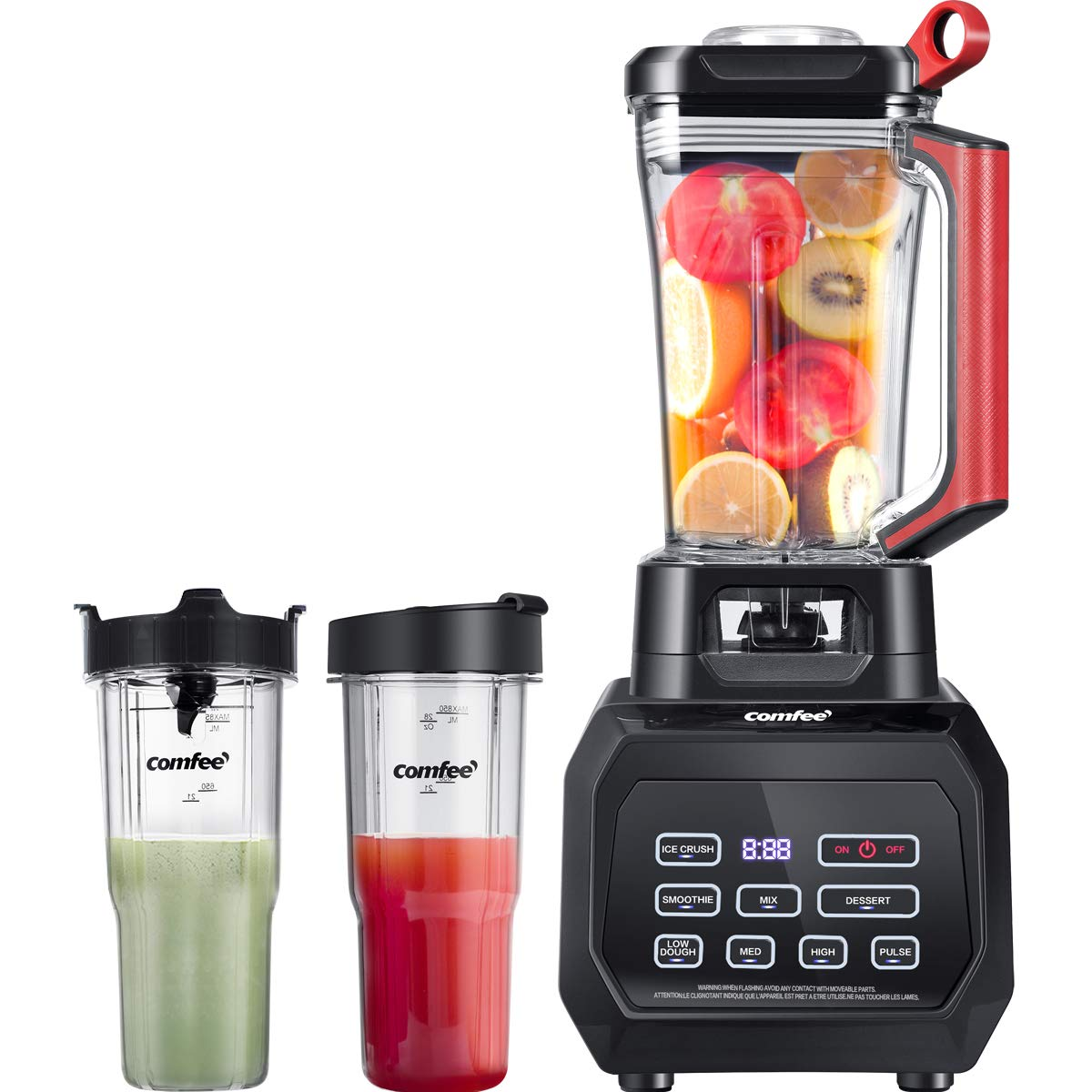 COMFEE BL2532 Professional Blender Smoothie Blender, 70oz Clear Tritan Pitcher Countertop Blender and 2 28oz Boottles Personal Blender with 1500-Watt Base for Shakes and Smoothies