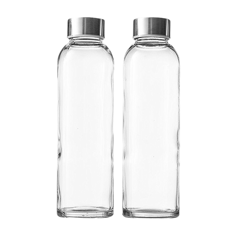 Seacoast - 18 Oz Glass Juice Bottles With Regular 18/10 Steel Caps (2)