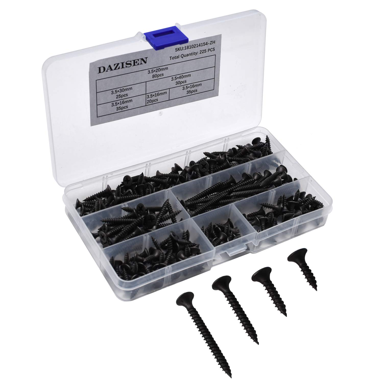 155 Pi/èce DAZISEN Screw Boxes 16mm 20mm 30mm 35mm 40mm 50mm 155 Pi/èces Coffret /à Vis en Bois Autoforant avec de Fil inclus M3.5 x