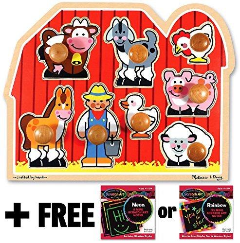 Farm 'Jumbo Knob' Puzzle + FREE Melissa & Doug Scratch Art Mini-Pad Bundle [33916]
