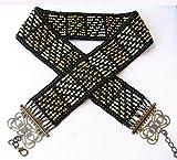 Belt for woman. Black belt. Hand made beaded belt. Women belt. Belt for evening dress. Waist belts. Bohemian chunky belt 1960's style